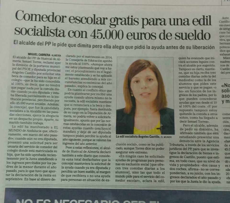 Comedor escolar gratis para una diputada socialista con 45 - Sueldo monitora de comedor ...